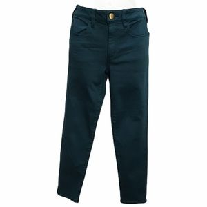 NWOT-AEO Teal, straight leg, high rise crop jeans.